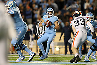 CHAPEL HILL, NC - NOVEMBER 02: Sam Howell #7 of the University of North Carolina drops back to pass during a game between University of Virginia and University of North Carolina at Kenan Memorial Stadium on November 02, 2019 in Chapel Hill, North Carolina.