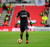 2nd December 2017, bet365 Stadium, Stoke-on-Trent, England; EPL Premier League football, Stoke City versus Swansea City; Jordan Ayew of Swansea City looks to move the ball into attack