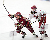 Mary Restuccia (BC - 22), Kalley Armstrong (Harvard - 13) - The Boston College Eagles defeated the Harvard University Crimson 4-2 in the 2012 Beanpot consolation game on Tuesday, February 7, 2012, at Walter Brown Arena in Boston, Massachusetts.
