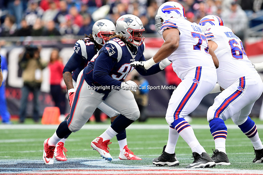 Sunday, October 2, 2016: New England Patriots defensive tackle Malcom Brown (90) and Buffalo Bills tackle Cordy Glenn (77) in game action during the NFL game between the Buffalo Bills and the New England Patriots held at Gillette Stadium in Foxborough Massachusetts. Buffalo defeats New England 16-0. Eric Canha/Cal Sport Media