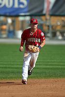 Auburn Doubledays second baseman Dalton Dulin (4) during a game against the Batavia Muckdogs on September 7, 2015 at Falcon Park in Auburn, New York.  Auburn defeated Batavia 11-10 in ten innings.  (Mike Janes/Four Seam Images)