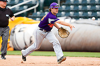 Johnny Day (16) of the Evansville Purple Aces tosses the ball to first base during a game against the Missouri State Bears at Hammons Field on May 12, 2012 in Springfield, Missouri. (David Welker/Four Seam Images)