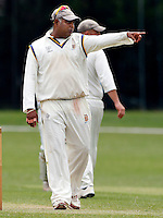 Wembley captain Chula De Silva directs his field during the Middlesex Cricket League Division Two game between Brondesbury and Wembley at Harman Drive, London on Sat Aug 1, 2015