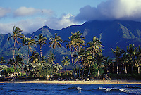 Mount Kaala from the sea with palms and white sand beach, Waialua, Hawaii