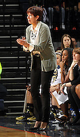 Notre Dame head coach Muffet McGraw reacts to a play during the first half of an NCAA basketball game against Virginia Sunday Jan. 12, 2014 in Charlottesville, VA. (Photo/The Daily Progress/Andrew Shurtleff)