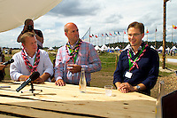 Prime ministers of Denmark, Sweden and Finland having press conference at the camp site. Photo: Mikko Roininen / Scouterna