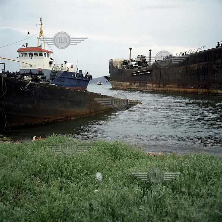 Old ships in the Savva shipyard in Elefsina.