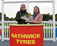 Connections of Poseidon receive their trophy from sponsors after winning The Bathwickcarandvanhire.co.uk Handicap    i during Bathwick Tyres Reduced Admission Race Day at Salisbury Racecourse on 9th October 2017