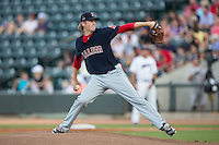 Salem Red Sox starting pitcher Ty Buttrey (46) delivers a pitch to the plate against the Winston-Salem Dash at BB&T Ballpark on June 18, 2015 in Winston-Salem, North Carolina.  The Red Sox defeated the Dash 8-2.  (Brian Westerholt/Four Seam Images)