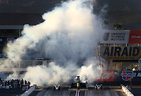 Feb 27, 2016; Chandler, AZ, USA; NHRA jet dragster drivers shoot smoke from the jet engines that power their dragsters during the Carquest Nationals at Wild Horse Pass Motorsports Park. Mandatory Credit: Mark J. Rebilas-USA TODAY Sports