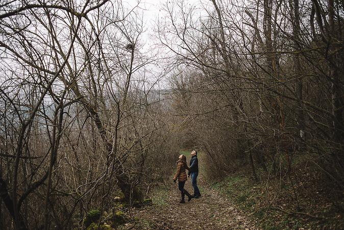 Katrine and Alexander walking through the outskirts of Rascov village. Transnistria