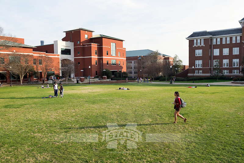 Drill Field Spring Day, with students out enjoying the weather.<br />  (photo by Megan Bean / &copy; Mississippi State University)