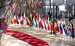 BRUSSELS - BELGIUM - 21 June 2019 -- European Council, summit meeting with heads of state. -- Red carpet and flags for arriving leaders. -- PHOTO: Juha ROININEN / EUP-IMAGES