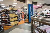 The women's shoe department in the Saks Fifth Avenue Off Fifth discount spin-off brand in New York, seen on Sunday, March 6, 2016. The 47,000 square foot store, selling discounted merchandise also contains a Gilt Groupe shop which will offer weekly flash sales. Hudson's Bay Co., the owner of Saks, recently purchased the Gilt Groupe.  (© Richard B. Levine)