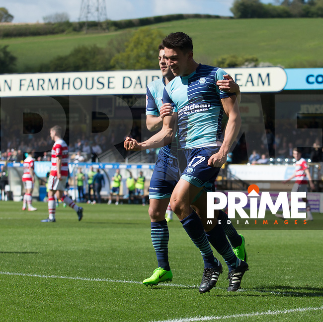 Luke O'Nien of Wycombe Wanderers celebrates his goal during the Sky Bet League 2 match between Wycombe Wanderers and Doncaster Rovers at Adams Park, High Wycombe, England on 22 April 2017. Photo by James Williamson / PRiME Media Images.