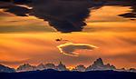 Lenticular clouds over Monte Fitz Roy and Cerro Torre, Los Glaciares National Park, Argentina