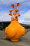 Unusual musical sculpture artwork based marine buoy design, city of Trondheim  Norway