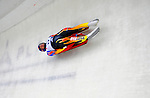 7 February 2009: Christopher Mazdzer slides for the USA in the Men's Competition at the 41st FIL Luge World Championships, in Lake Placid, New York, USA. .  .Mandatory Photo Credit: Ed Wolfstein Photo