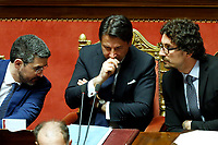 Riccardo Fraccaro, Giuseppe Conte and Danilo Toninelli<br /> Rome March 19th 2019. Senate. Speech of the Italian Premier about the next European Council and about the economic agreements italy/China.<br /> Foto Samantha Zucchi Insidefoto
