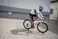 World Champion Alejandro Valverde (ESP/Movistar) rolling back towards the teambusses after the stage<br /> <br /> Stage 6: Mora de Rubielos to Ares del Maestrat (199km)<br /> La Vuelta 2019<br /> <br /> ©kramon