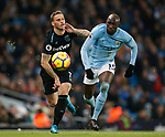 Marko Arnautovic of West Ham United chase with Eliaquim Mangala of Manchester City during the premier league match at the Etihad Stadium, Manchester. Picture date 3rd December 2017. Picture credit should read: Andrew Yates/Sportimage
