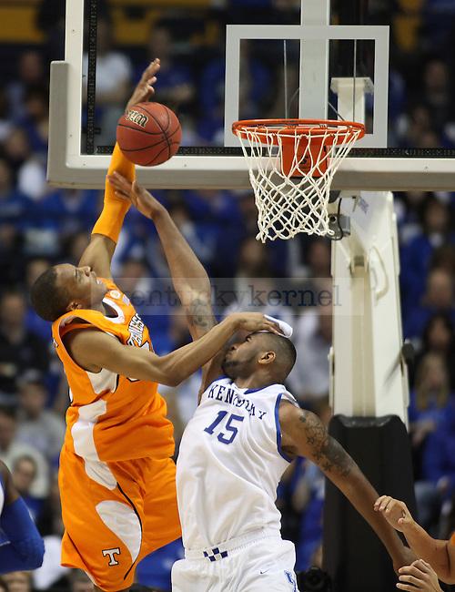 Freshman forward DeMarcus Cousins gets his headband knocked off while guarding a shot in the second half of UK's 74-45 win over Tennessee at Bridgestone Arena in Nashville, TN during the SEC Semifinals on Saturday, March 13, 2010. Photo by Britney McIntosh | Staff