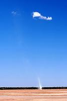 Staubteufel mit Cumuluswolke: NAMIBIA, AFRIKA, 10.11.2018: Staubteufel.<br /> Eine Kleintrombe ist ein kleinr&auml;umiger Luftwirbel mit vertikaler Achse und meist geringer H&ouml;henerstreckung, der auf die atmosph&auml;rische Grenzschicht beschr&auml;nkt ist