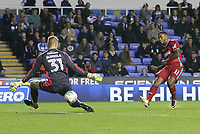 Luciano Narsingh of Swansea City scores past goalkeeper Anssi Jaakkola of Reading only for it to be disallowed for offside during the Carabao Cup Third Round match between Reading and Swansea City at Madejski Stadium, Reading, England, UK. Tuesday 19 September 2017