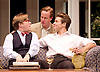 My Night with Reg <br /> by Kevin Elyot <br /> at the Apollo Theatre, London, Great Britain <br /> Press photocall<br /> 20th January 2015 <br /> <br /> Jonathan Broadbent as Guy <br /> Geoffrey Streatfeild as Daniel <br /> Julian Ovenden as John <br /> Photograph by Elliott Franks <br /> Image licensed to Elliott Franks Photography Services