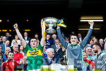 Eddie Horan Kerry Minors celebrate with the Tom Markham Cup after defeating Derry in the All-Ireland Minor Footballl Final in Croke Park on Sunday.