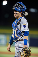 AZL Royals catcher Michael Arroyo (7) on defense against the AZL Mariners on July 29, 2017 at Peoria Stadium in Peoria, Arizona. AZL Royals defeated the AZL Mariners 11-4. (Zachary Lucy/Four Seam Images)