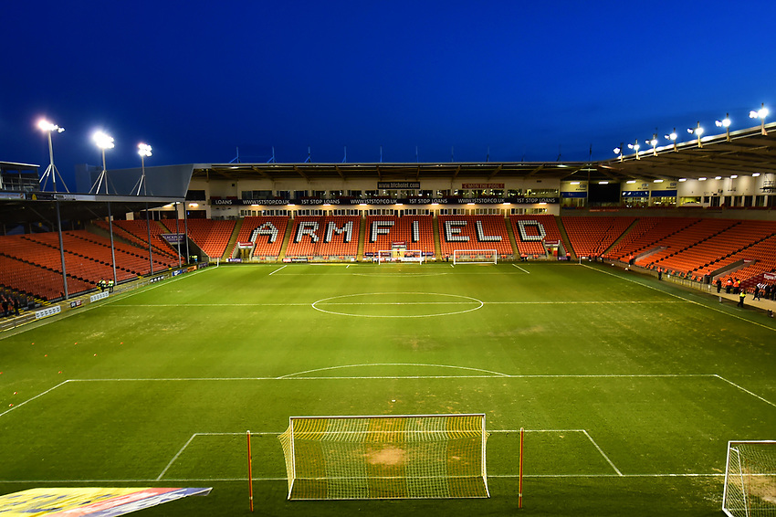 A general view of Bloomfield Road, home of Blackpool FC<br /> <br /> Photographer Richard Martin-Roberts/CameraSport<br /> <br /> The EFL Sky Bet League One - Blackpool v Charlton Athletic - Tuesday 13th March 2018 - Bloomfield Road - Blackpool<br /> <br /> World Copyright &not;&copy; 2018 CameraSport. All rights reserved. 43 Linden Ave. Countesthorpe. Leicester. England. LE8 5PG - Tel: +44 (0) 116 277 4147 - admin@camerasport.com - www.camerasport.com