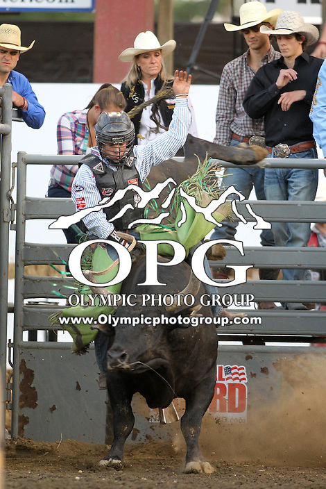 20 Aug 2014:  Chandler Bownds scored a 86.1 in the first round of the Seminole Hard Rock Extreme Bulls competition at the Kitsap County Stampede in Bremerton, Washington.