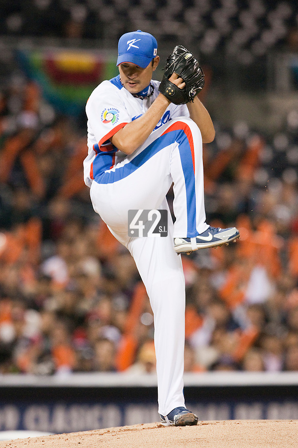 17 March 2009: #51 Jungkeun Bong of Korea pitches against Japan during the 2009 World Baseball Classic Pool 1 game 4 at Petco Park in San Diego, California, USA. Korea wins 4-1 over Japan.