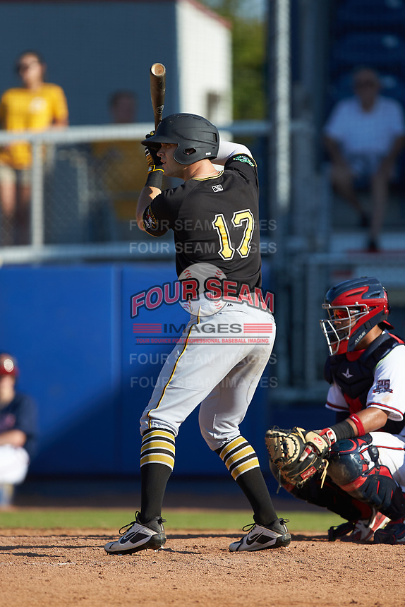Brendt Citta (17) of the Bristol Pirates at bat against the Danville Braves at American Legion Post 325 Field on July 1, 2018 in Danville, Virginia. The Braves defeated the Pirates 3-2 in 10 innings. (Brian Westerholt/Four Seam Images)