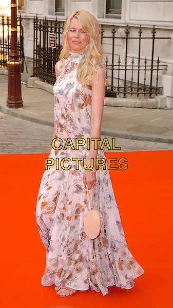 CLAUDIA SCHIFFER.The 2006 Summer Exhibition Preview Party at the Royal Academy in Piccadilly, London, UK..June 7th, 2006 .Ref: CAV.full length floral print dress white biege purse.www.capitalpictures.com.sales@capitalpictures.com.© Capital Pictures.