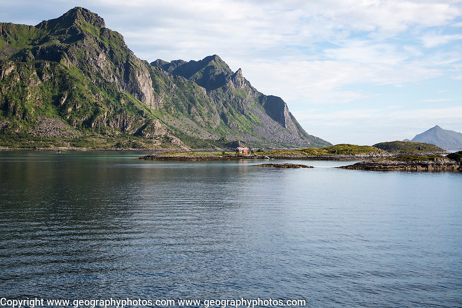 Mountains and skerries, Stormolla island, Lofoten islands, Nordland, Norway