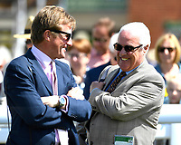 Trainer Ralph Beckett and connections of Time Change share a joke in the winners enclosure after winning The Smith & Williamson British EBF Fillies' Handicap (Class 3)   during Afternoon Racing at Salisbury Racecourse on 17th May 2018