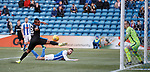 Alfredo Morelos misses the ball in front of goal
