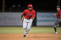 AZL Angels designated hitter Jose Verrier (4) hustles to third base during an Arizona League game against the AZL Diamondbacks at Tempe Diablo Stadium on June 27, 2018 in Tempe, Arizona. The AZL Angels defeated the AZL Diamondbacks 5-3. (Zachary Lucy/Four Seam Images)