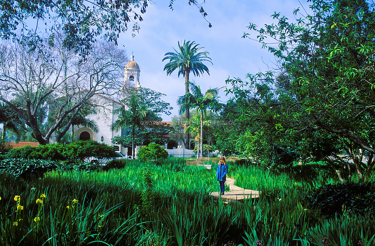 "Once the site of the elegant El Mirasol Hotel, this downtown block is often called the ""crown jewel"" of city parks. The park features a large botanical collection (75 different tree and plant species); koi pond; sensory garden Purchased and donated to the city in 1975 by Alice Keck Park, dedicated in 1980."