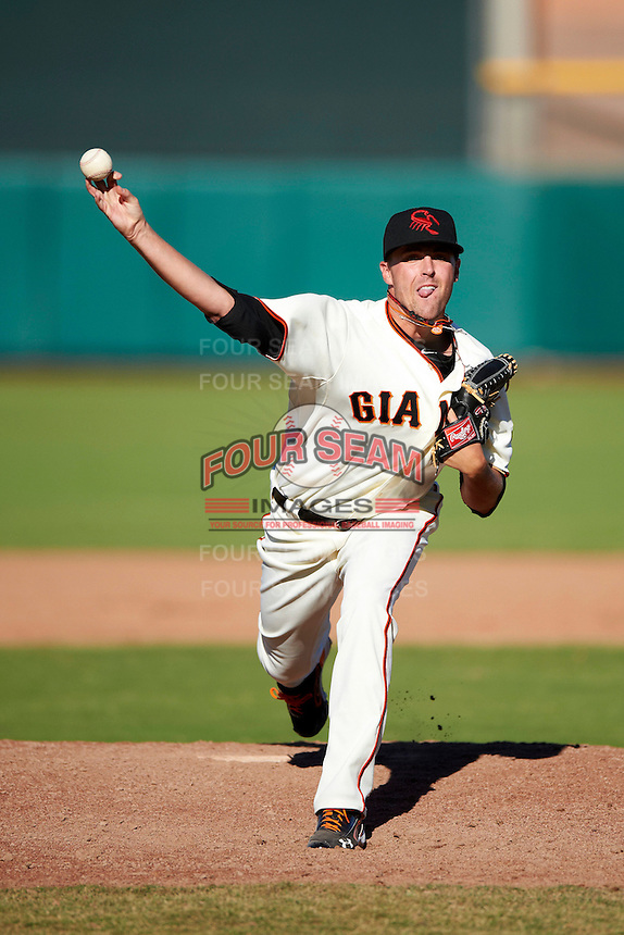 Scottsdale Scorpions pitcher Heath Hembree #59, of the San Francisco Giants organization, during an Arizona Fall League game against the Surprise Saguaros at Scottsdale Stadium on October 16, 2012 in Scottsdale, Arizona.  Surprise defeated Scottsdale 11-3.  (Mike Janes/Four Seam Images)
