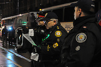 November 23, 2011, Toronto Police in significant numbers deploy during the predawn hours this morning, beginning the process of evicting the Occupy Toronto tent camp from St. James Park. Here an unidentified Senior Toronto Police Officer addresses the protesters moments before police entered the park.