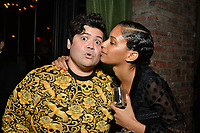 """NEW YORK - MARCH 19: Actor Harvey Guillen and Stefani Robinson, Co-Executive Producer and writer attend the party at the Bowery Hotel Terrace following the premiere for FX Networks """"What We Do In The Shadows"""" on March 19, 2019 in New York City. (Photo by Anthony Behar/FX/PictureGroup)"""