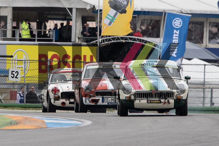 Hockenheim 10.-12. April 2015, BOSCH Hockenheim Historic auf dem Hockenheimring.<br /> <br /> Triumph Competition und British GT - Rene Gr&uuml;ter (MG B) und Detlef Walter (MG B GT)<br /> <br /> Foto &copy; P-I-X.org *** Foto ist honorarpflichtig! *** Auf Anfrage in hoeherer Qualitaet/Aufloesung. Belegexemplar erbeten. Veroeffentlichung ausschliesslich fuer journalistisch-publizistische Zwecke. For editorial use only.