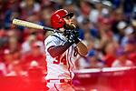 6 October 2017: Washington Nationals outfielder Bryce Harper at bat during the first game of the NLDS against the Chicago Cubs at Nationals Park in Washington, DC. The Cubs shut out the Nationals 3-0 to take a 1-0 lead in their best of five Postseason series. Mandatory Credit: Ed Wolfstein Photo *** RAW (NEF) Image File Available ***