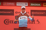 Geoffrey Bouchard (FRA) AG2R La Mondiale is awarded the combativity prize at the end of Stage 9 of La Vuelta 2019 running 99.4km from Andorra la Vella to Cortals d'Encamp, Spain. 1st September 2019.<br /> Picture: Colin Flockton | Cyclefile<br /> <br /> All photos usage must carry mandatory copyright credit (© Cyclefile | Colin Flockton)