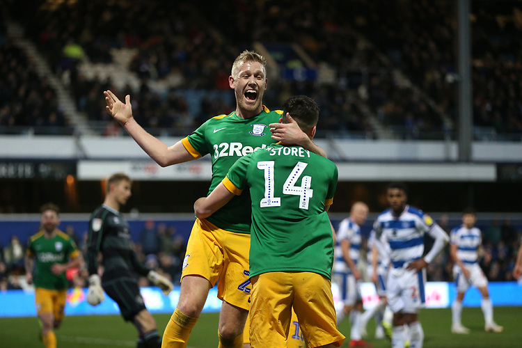 Preston North End's Jordan Storey celebrates scoring his side's second goal with Jayden Stockley<br /> <br /> Photographer Rob Newell/CameraSport<br /> <br /> The EFL Sky Bet Championship - Queens Park Rangers v Preston North End - Saturday 19 January 2019 - Loftus Road - London<br /> <br /> World Copyright &copy; 2019 CameraSport. All rights reserved. 43 Linden Ave. Countesthorpe. Leicester. England. LE8 5PG - Tel: +44 (0) 116 277 4147 - admin@camerasport.com - www.camerasport.com