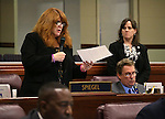 Nevada Assemblywoman Ellen Spiegel, D-Henderson, speaks on the Assembly floor at the Legislative Building in Carson City, Nev., on Tuesday, April 21, 2015. <br /> Photo by Cathleen Allison
