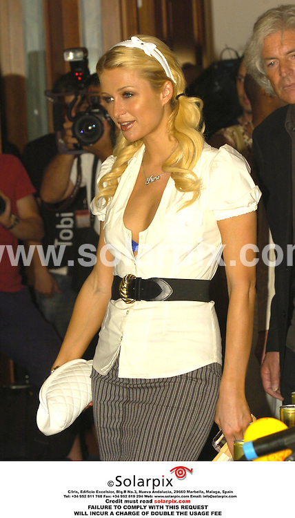 ALL ROUND PICTURES FROM SOLARPIX.COM.*MUST CREDIT SOLARPIX.COM OR DOUBLE FEE WILL BE CHARGED*.Paris Hilton yesterday gave a press conference to promote a new drink called 'Rich Prosecco' at the  'Hotel Marival' in Palma de Mallorca in the Balearic Islands, Paris also sang on the beach in front of the hotel to promote her new song 'stars are blind' for her fans..DATE:23-07-06-JOB REF:2615-SPA